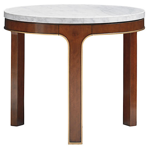 Interlude Cararra Side Table, Hazelnut