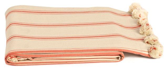 Pom-Pom Cotton Beach Blanket, Red