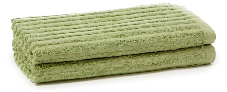 S/2 Bamboo Ribbed Hand Towels, Green