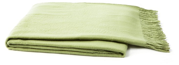 Silk Fleece Throw, Green Tea