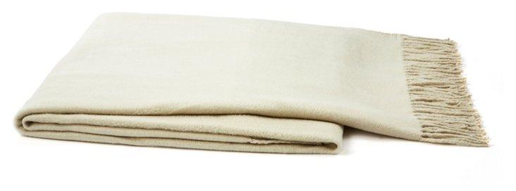 Silk Fleece Throw, White