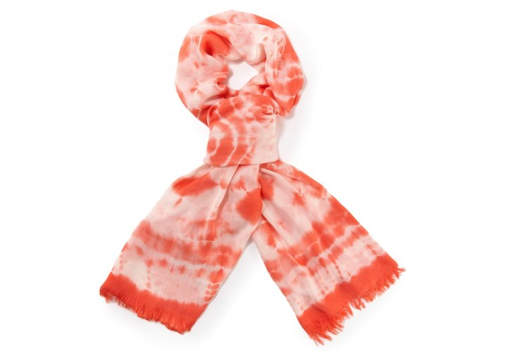Fringed PashBus Scarf, Hibiscus