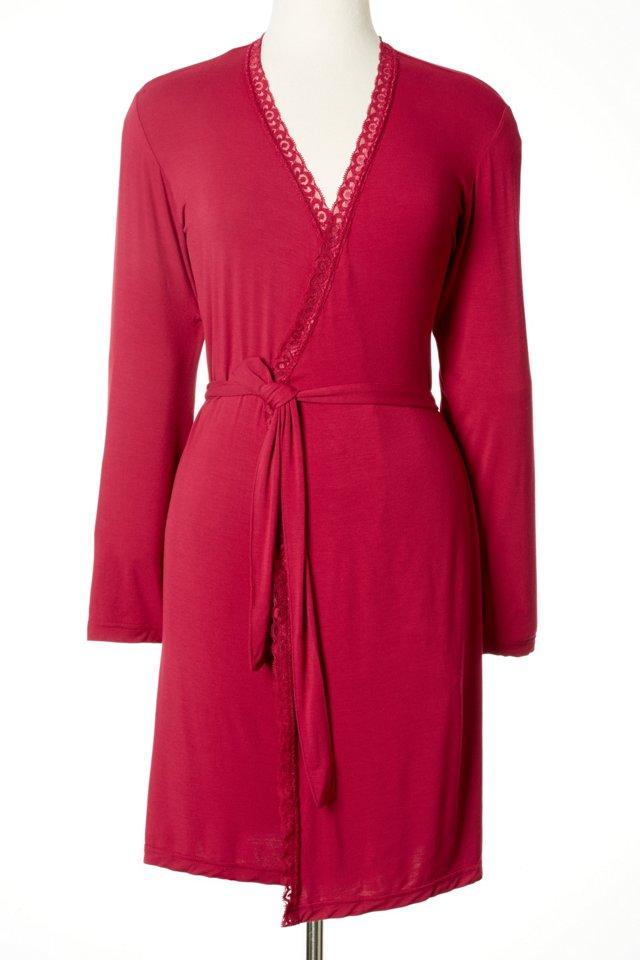 BambooDreams  Lace Robe, Scarlet