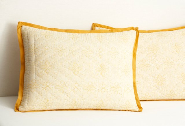 S/2 Fleur & Provence Quilted Shams, Gold