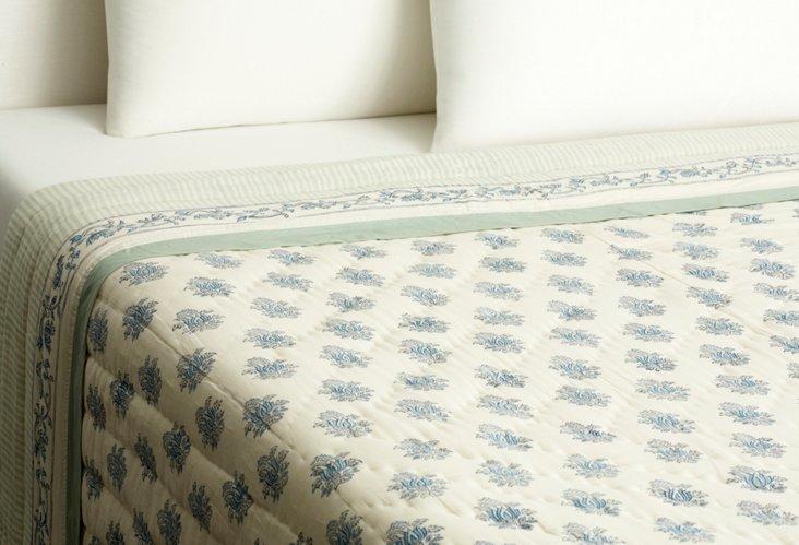 Lotus & Stripe Quilt, Blue