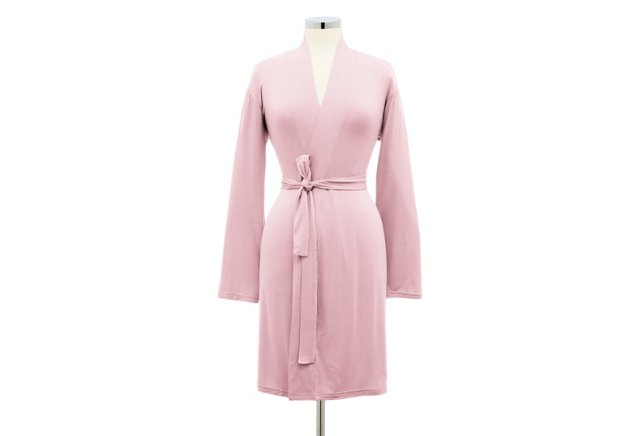 Short Bamboo Robe, Soft Pink