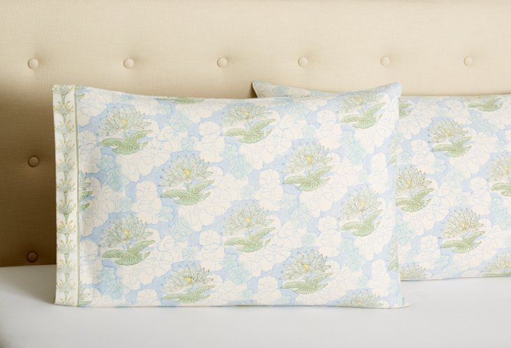 Set of 2 Cotton Pillowcases, Blue/Green