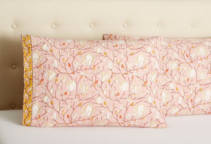 Set of 2 Cotton Pillowcases, Pink Branch