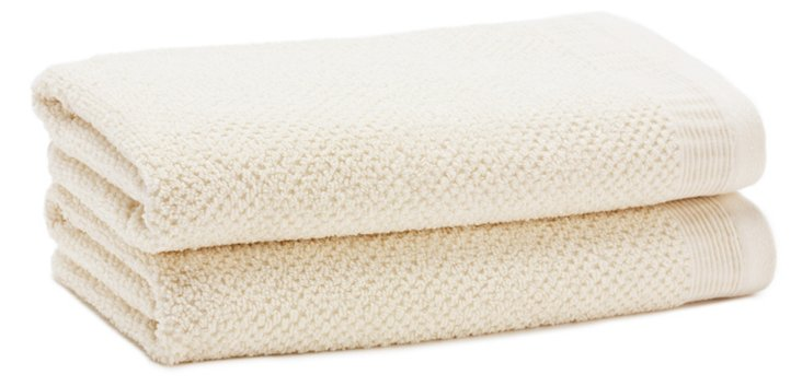 S/2 Organic Cotton Hand Towels, Ivory