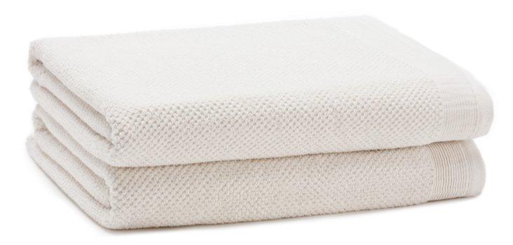 S/2 Organic Cotton Bath Towels, White