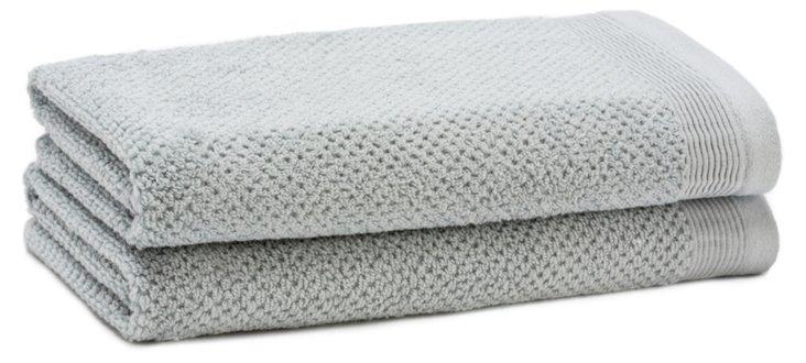 S/2 Organic Cotton Hand Towels, Blue