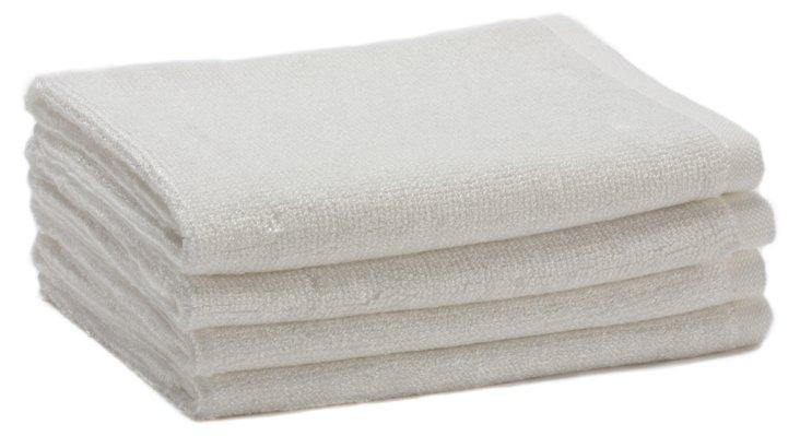 S/4 Bamboo Terry Washcloths, White
