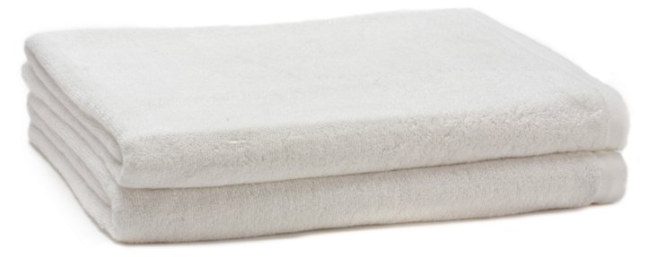 S/2 Bamboo Terry Bath Towels, White