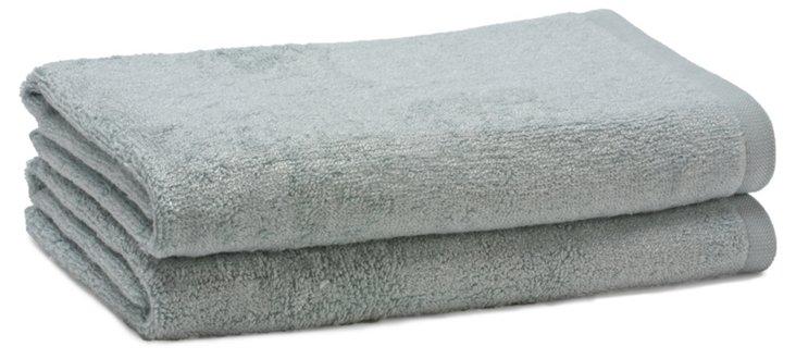 S/2 Bamboo Terry Hand Towels, Rain