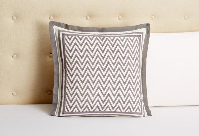 Block Print Rev. Cushion Cover, Gray