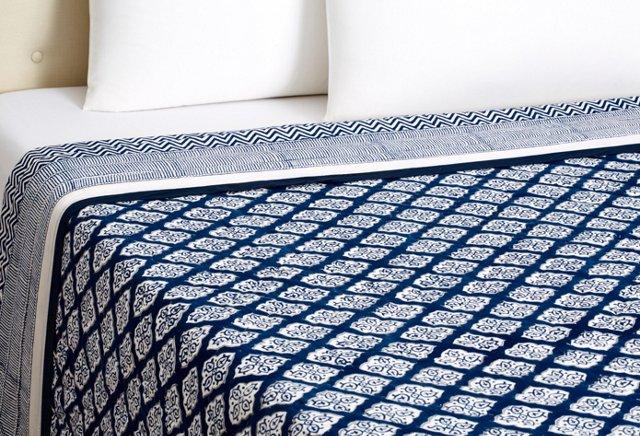 Jaya Block Print Quilt, Indigo Jaya