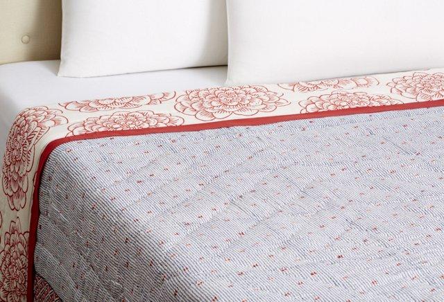 Dahlia Block Print Quilt, Red Dahila