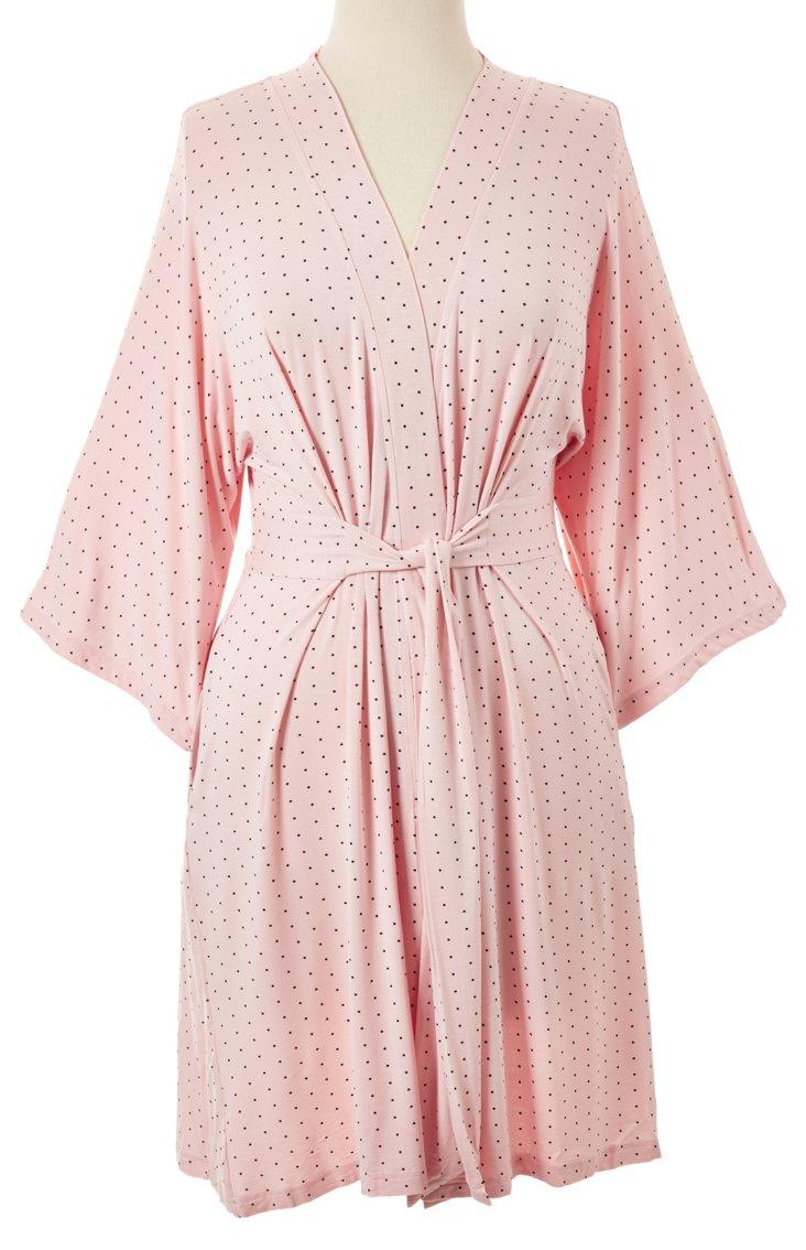 Bamboo Nina Robe, Soft Pink/Black