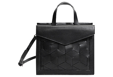 Voyager Leather Flap Satchel, Black
