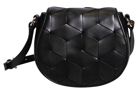 Escapade Leather Saddle Bag, Black