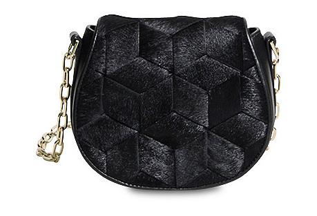 Escapade Haircalf Mini Saddle Bag, Black