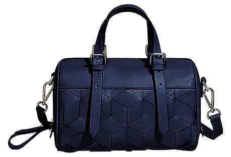 Summit Mini Leather Duffel, Navy