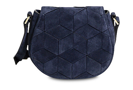 Escapade Mini Suede Saddle Bag, Navy