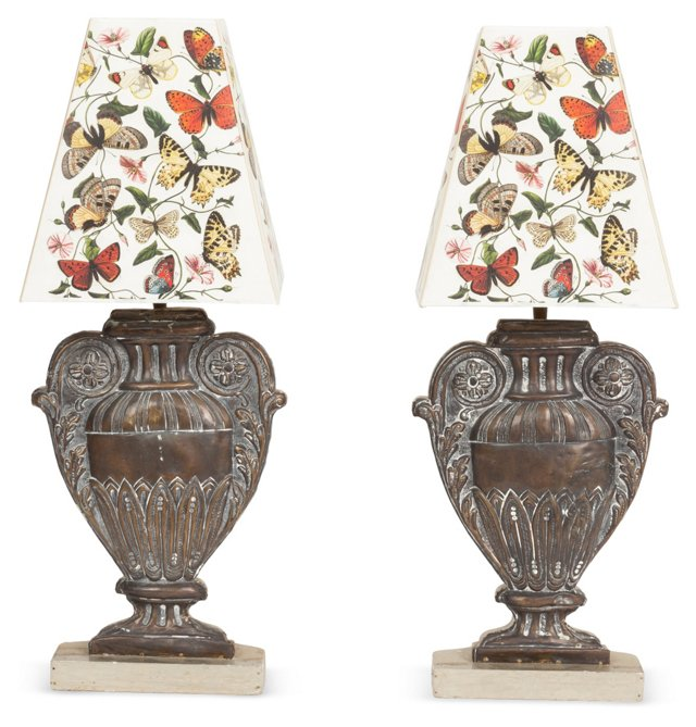 Bronze Table Lamps w/ Shades, Pair