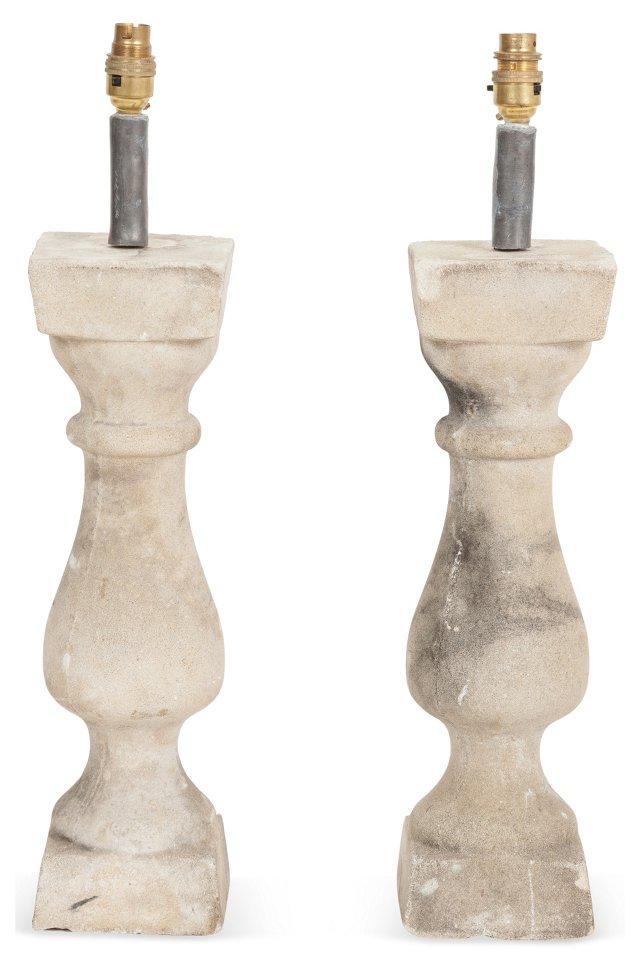 Stone Balustrade Lamps, Pair