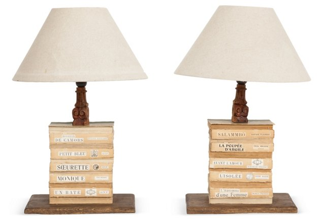 French Upcycled Book Lamps, Pair