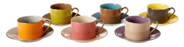 S/6 Assorted Teacups & Saucers, Sienna