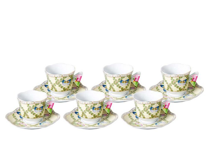 S/6 Butterfly Teacups & Saucers