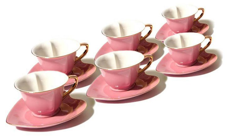 S/6 Heart Tea Cups, Rose/Gold