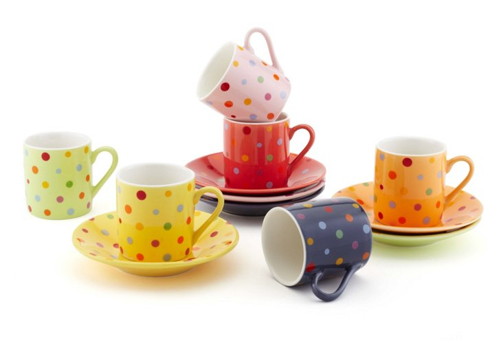 S/6 Assorted Polka Dot Cups & Saucers