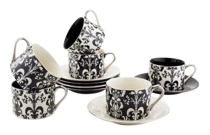 S/6 Assorted Cups & Saucers, White/Black
