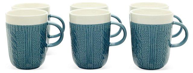 S/6 Sweater Mugs, Blue/White