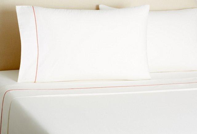 Dashed Hotel Sheet Set, Coral