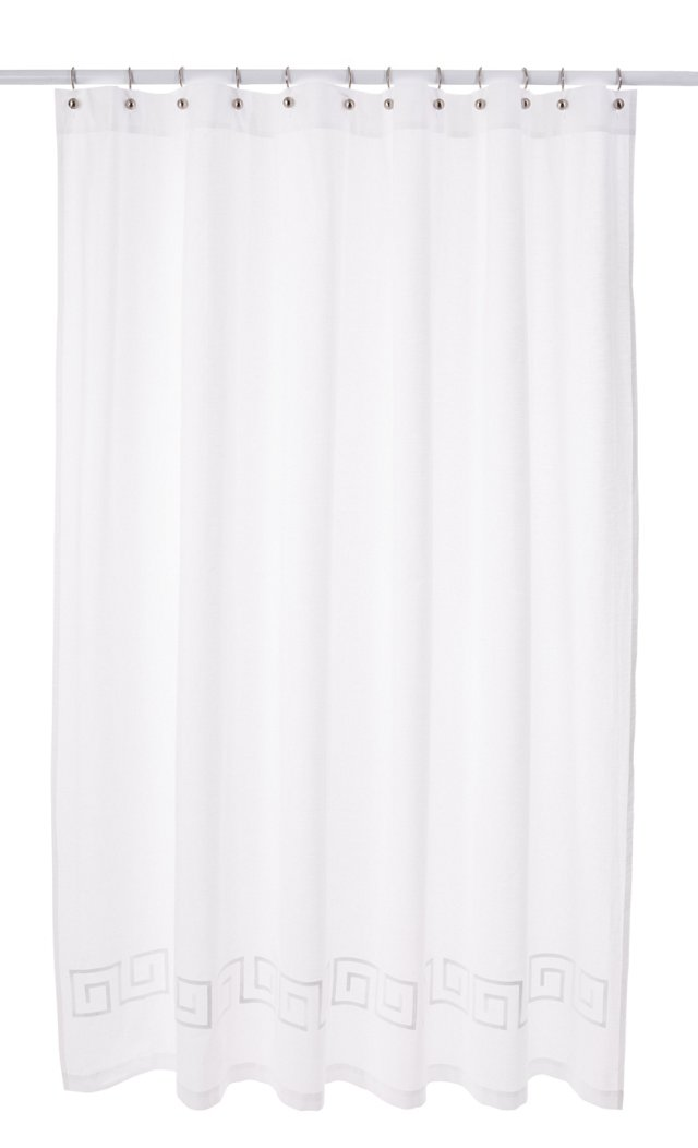 Greek Key Shower Curtain, White