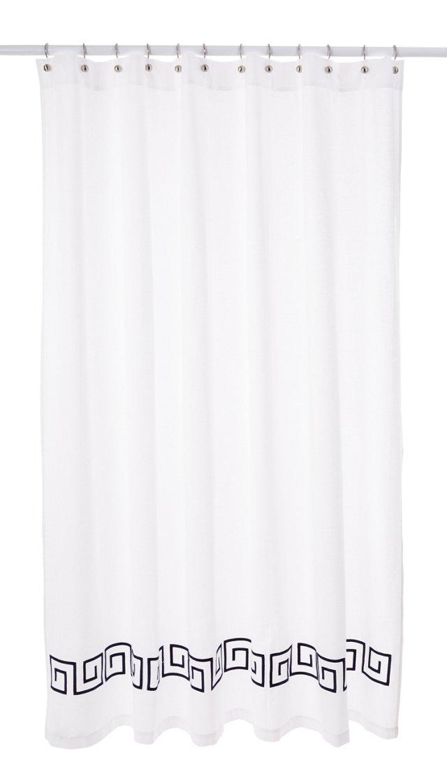 Greek Key Shower Curtain, Navy