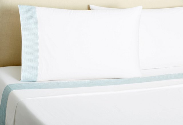 Basket-Stitch Sheet Set, Aegean