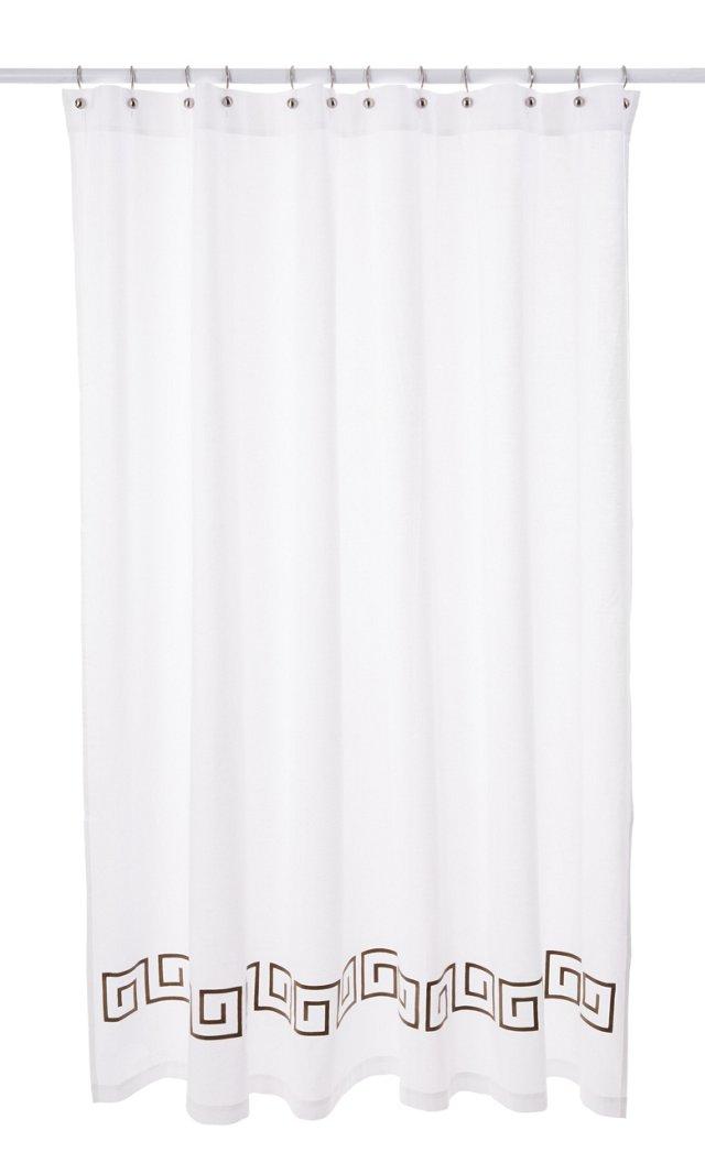 Greek Key Shower Curtain, Clay