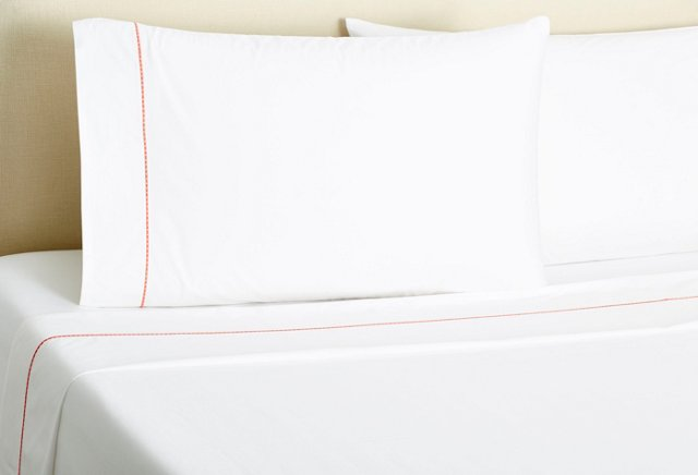 Dash-Stitch Sheet Set, Coral