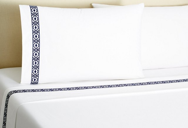 Diamond Scroll Sheet Set, Navy