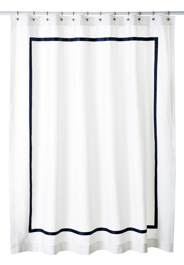 Classic Ribbon Shower Curtain, Navy