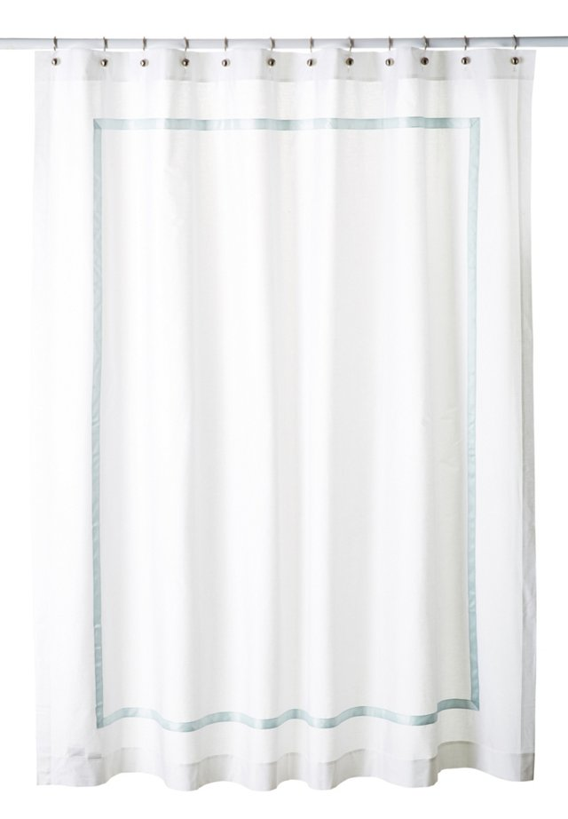 Classic Ribbon Shower Curtain, Ice Blue