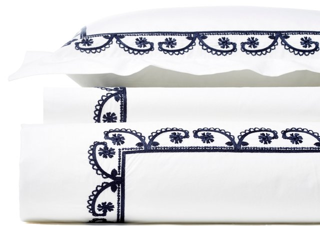 Garland ChainStitch Duvet Set, Navy
