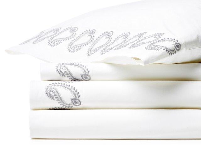 Boteh Sheet Set, Gray/Dove