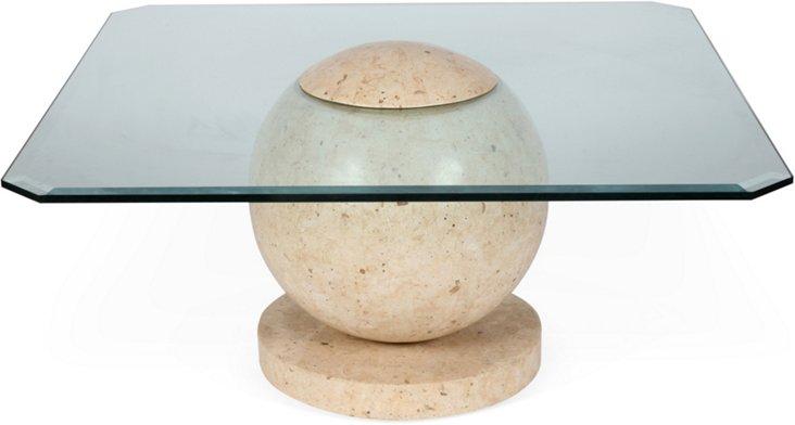 1960s Marble Veneer Sphere Coffee Table