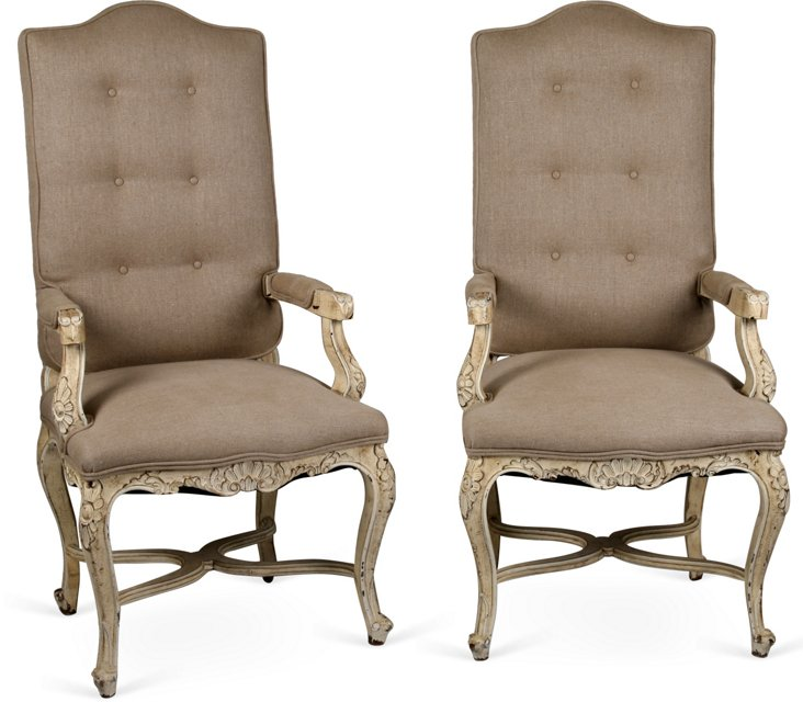 French Wood & Linen Chairs, Pair
