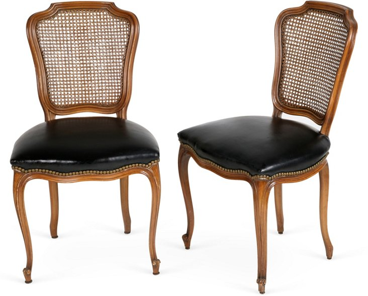 French Leather Cane-Back Chairs, Pair